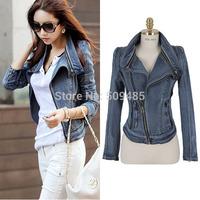 Fahion Denim Patchwork Outwear Short Jeans Coat Retro Women Fashion Long-sleeved Free Size Jeans Rivets Jacket