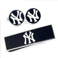 MLB Baseball Pinstripe Blue/White Jays Cufflinks Money Clip Gift Set Free Shipping