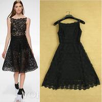 Fashion Runway 2014 summer elegant sexy cutout slim black white formal dress vestido de festa