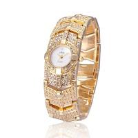 2014 New Fashion Women Dress Watches Rhinestones Style Quartz Watch Alloy Bracelets Women Gift Wristwatches Relogio 2 Colors