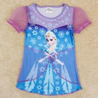 Girl Frozen Dresses Princess Anna Elsa Clothing Baby Girl Summer Dress Toddler Girl Garment  19-24M 1pc Free shipping TNQ-1413