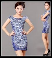 women summer dress New Hot Fashion summer dress 2014 cozy elegant vintage blue porcelain cheongsam embroidery plus size S-XL WA