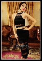 New Hot clothing set Fashion cozy casual elegant girls clothing sets Nibbuns big brand full Lace waves gauze skirt two-piece WA