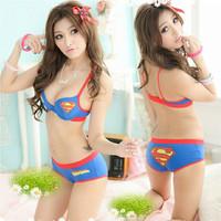 Hot sale superman bra set japanese style girl push up underwear bra set fashion 100%cotton underwear sets wholesale&retail