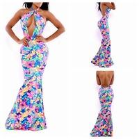 2014 Hot Fashion Sexy Nightclub Hollow Party Celebrity Bandage Dress Halter dress Club Dress Free Shipping