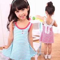 2014 Baby Girl Summer Marine Vest Dress Marine Sailor Stripes Dresses Good Quality