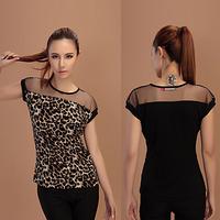 Fashion Women Leopard Printed Chiffon Shirts Cap Sleeve Slim Tops Casual Blouse Free&DropShipping