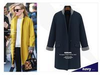 New Arrivel 2014 Women Autumn Winter Wool Overcoat For lady Yellow Coat Outerwear feminino casaco YS8291