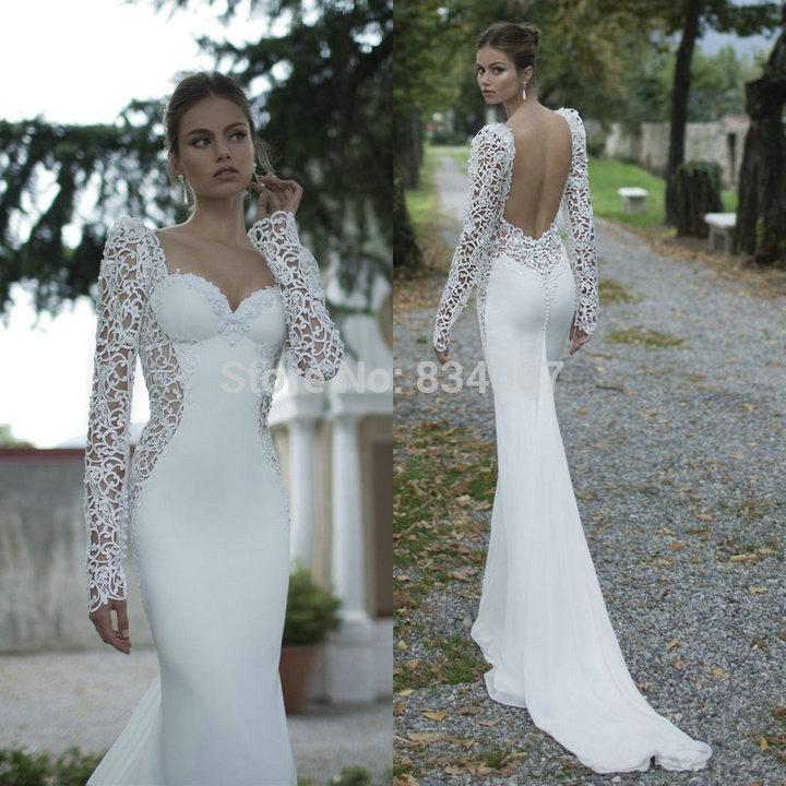 vendita calda bianco innamorato sirena su misura abito da sposa in raso con maniche lunghe