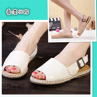 2014gelly flat heel fashionable casual female sandals comfortable elegant simple shoes leather shoes