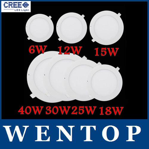 40w 30w 25w 18w 15w 12w 6w dimmbar cree led deckeneinbau-panel downlights lampe rund