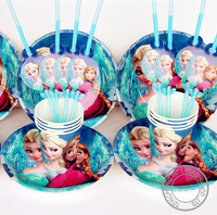 Frozen movie happy birthday party decoration supplies favors plates cups straws for 12 people Frozen party decoration CK-884