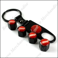 4caps car automobile auto truck wheel tire tyre valve cap cover covers caps STI brand logo emblem badge keychain keyring