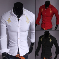 High Quality!Casual Men Shirts 2014 New Men's Classic Gold Embroidery Shirt Mens Fashion Long Sleeve Shirts Free Shipping