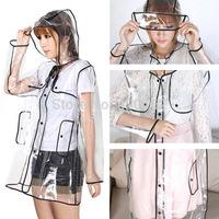 NEW PVC/Vinyl Fashion Women Girls Transparent Clear Rain Coat Mac Camping Long Parka Raincoat Free Shipping