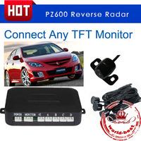 PZ600-6 TFT display Car Parking Sensor Backup Reverse Radar Alert System with 6 Sensors free shipping