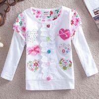 Heart Printed Children Girl T-Shirts Long Sleeve Girl Spring Autumn Hoodies Girl Tshirts 2T-5T 1pc Free shipping TYT-1435