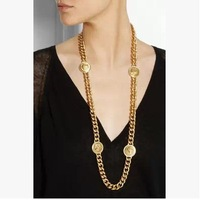 Gold Link Chain Circle Medusa Head Portrait Chunky Long Necklace