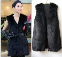 Big sale exporting order women's solid color black white grey fake fur vest free shipping plus size X/M/L/XL/XXL/XXXL