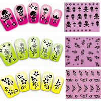 50Sheets New Flower 3D Bows Skull Bone Decals Nail Stickers New Fashion Nail Art Wraps Foil Tattoo Beauty Nail Tools XF151-180