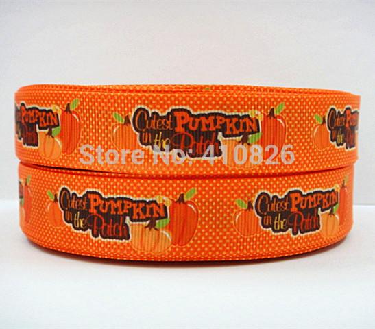 WM ribbon wholesale/OEM 140725009 7/8inch 22mm Halloween Cute pumpkin printed grosgrain ribbon 50yds/roll free shipping(China (Mainland))