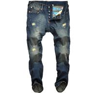 2014 new men high quality brand jeans hot sale men's denim pants distress retro slim pants plus large big size man trousers