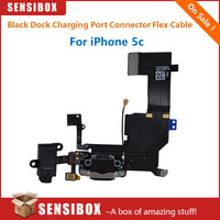 50pcs Replacement Black Dock Charging Port Connector with Flex Cable for iPhone 5c used to fix the bottom dock of iphone5c