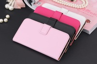 50pcs/lot free shipping Plain Wallet Stand Leather Case with card holder for HTC One 2 M8
