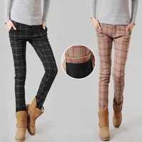1620 new winter plus thick velvet plaid pants female British leisure Slim thin pencil pants feet trousers