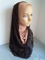 m2033 newst  Malaysia style Mercerized cotton and lace material  top grade muslim hijab fashional islamic turban hijab