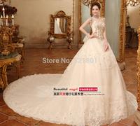 lace luxury sexy wedding dresses 2014 wedding dress crystal satin fashionable vestido de noiva gown noiva romantic plus size