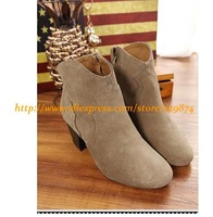 New Wholesale Women Genuine Leather Brand Short Boots,Lady Fashion Square-Heels Martin Boots Nude/Khaki/Black