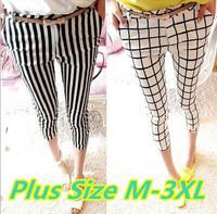 M/L/XL/XXL/XXXL size women pants & capris 2014 Autumn new plus size women printed stripe plaid pants free shipping