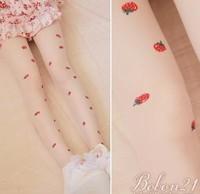 Princess sweet lolita pantyhose spring and summer BoBON21 bobon soft  red strawberry thin tights AC1024