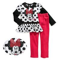 5set/lot wholesale minnie long sleeve 2pcs set kids long t-shirt pants glitter gril's clothes ,casual character child clothes