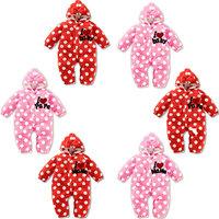 6pcs/lot wholesale dot print fleece baby hooded long sleeve romper warm clothes ,papa mama infant romper