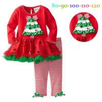 5set/lot wholesale  Christmas kids long sleeve mini dress pants 2pcs set ,gril's clothes ,christmas  set child clothes