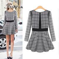 Blending Plaid Decoration Ball Gown Dress Casual Wholesale New 2014 Designer Women's Clothing