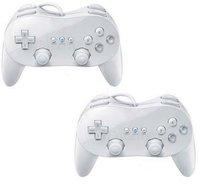 2x White Classic Pro Controller For Nintendo Wii Remote