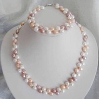 7-8mm White/Pink/Purple Akoya Cultured Pearls Necklace Bracelet Set