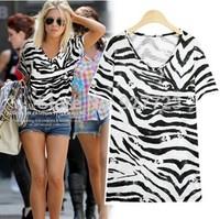 2014 new brand women fashion sexy T-shirts, women's zebra skull print round neck short sleeve Tops & Tees