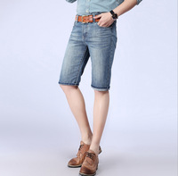 Lr 2014 straight men's fashion slim jeans capris summer comfortable shorts washing denim Jeans free shipping