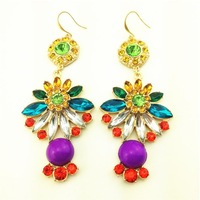 Hot Sale !! 2014 New Brand Fashion Sweet Fashion flower crystal pendant earrings for Women Ladies