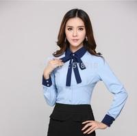 New Elegant Blue 2014 Blusas Femininas Fall Autumn Business Women Office Work Blouses Formal Tops Woman Clothes Clothing Shirt