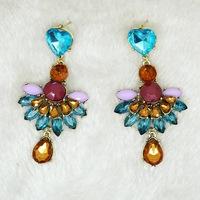 2014 New Fashion Retro personality  gem flower stud Crystal dangle vintage earrings,big long wedding earring Jewelry for women