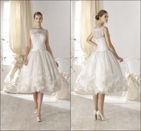 European Stylish  A Line Tea-Length Lace Charming White Short Wedding Dresses with Petals