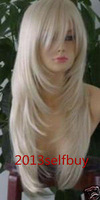 $wholesale_jewelry_wig$ free shipping New Fashion Long Light Blonde Layered straight Heat Resistant Cosplay Full Wig Wigs