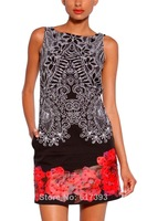New 2014 Desigual Belgica Womens Beading Print Dresses Black White sz:36 38 40 42 44 46