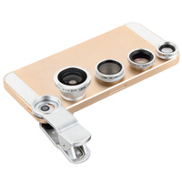 Sliver 4In1 Universal Clip For Mobile Phone Fish Eye Macro Lens Super Wide Angle CPL Circular Filter For Iphone 4 5s Samsung