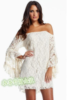 Fashion women's sexy slit neckline ruffle short sleeve elegant lace one-piece dress